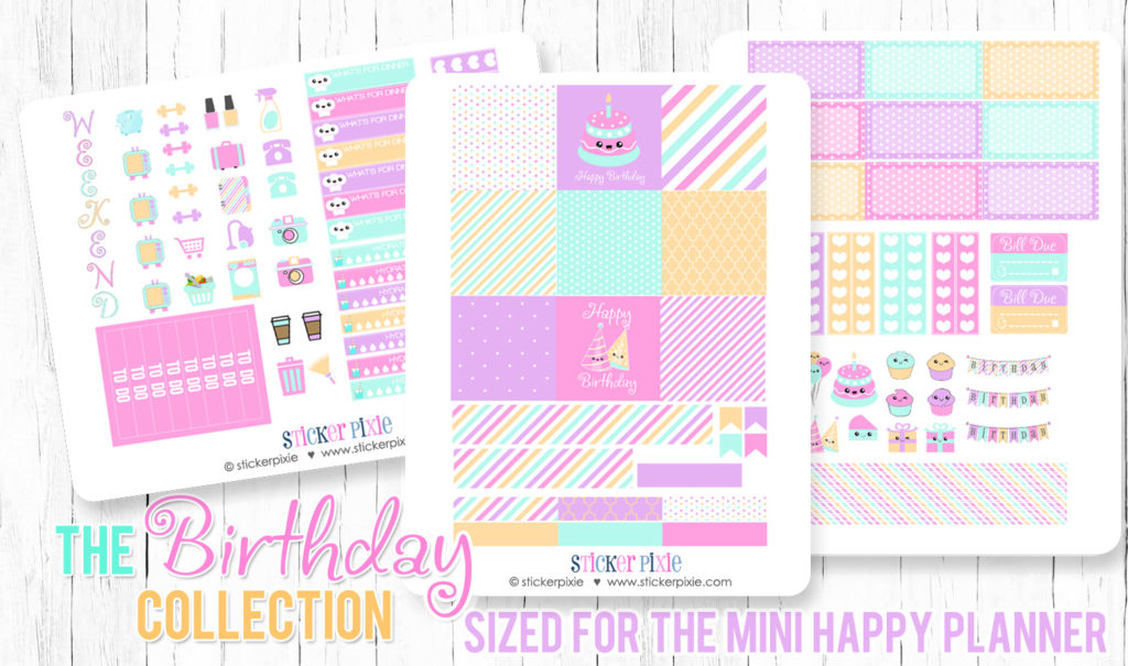 photo relating to Printable Sets identified as Fresh new Kawaii Birthday Fastened additionally a matching Free of charge Planner Sticker