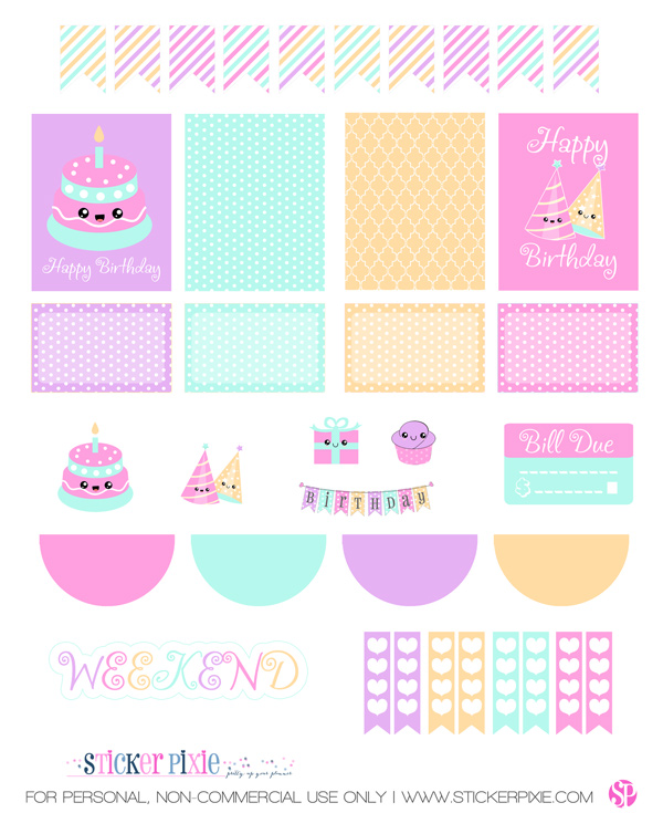 photograph about Sticker Printable called Fresh new Kawaii Birthday Fastened in addition a matching Free of charge Planner Sticker